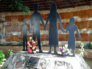 A memorial statue commemorating the massacre in the Salvadoran village of El Mozote
